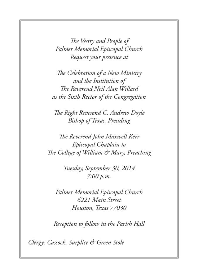 Palmer's Celebration of a New Ministry